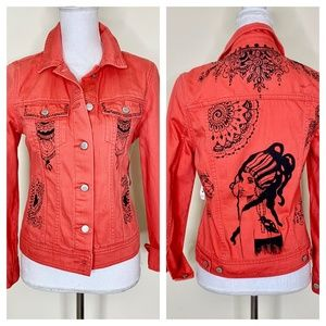 Hand Painted Bohemian Coral Colored Denim Jacket